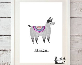 Alpaca Woolly Cute Print Illustration Home Decor Nursery Art