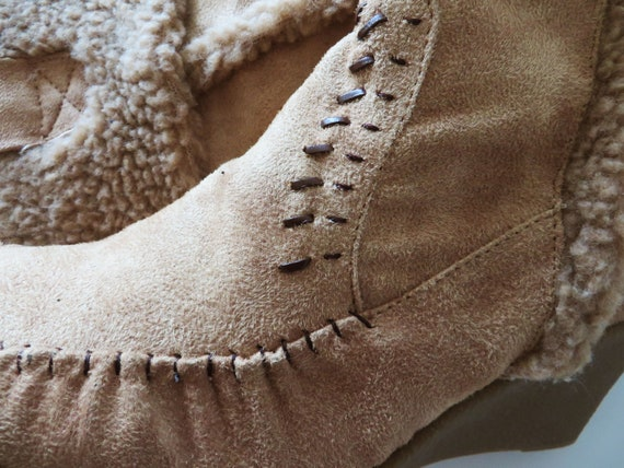 Gift 8 Tan 6 80s Boots Vintage Faux 5 Suede Moccasin Vegan Leather UK Boho Beige EUR 39 Boots Boots for Hipie Women's US Her 6RqwvRx