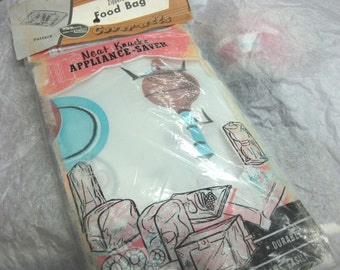 Vintage 1950s Before Containers Retro Kitchen Vinyl Zippered Food Bag