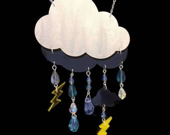 Laser Cut Acrylic Storm Cloud Necklace