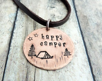 Happy Camper Necklace - Camping Necklace - Hiker Necklace - Outdoor Jewelry - Camper Jewelry - Camping Tent Necklace - Backpacking Jewelry
