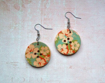Earrings Button Hibiscus
