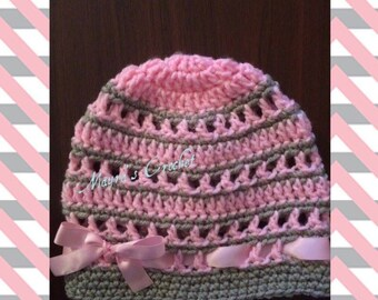 Warm Hat with Ribbon - Crochet