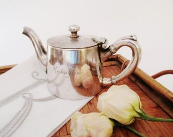 Pick-Barth Silver Teapot, Vintage Hotel Silver Teapot, Personal Teapot, Monogramed Vintage Silver