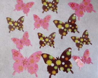 12 Butterfly pink and brown tone 3D stick