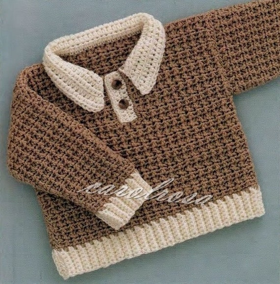Crochet Pattern Pullover/Sweater/Jumper Sizes 6 12 and 18