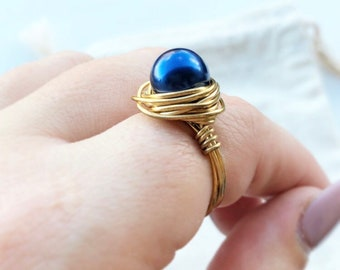 Blue Pearl Ring- Silver Pearl Ring- Navy Pearl Ring- Pearl Jewelry- Pearl Jewellery- Pearl Ring- Pearl Blue Ring- Blue Ring- Pearl