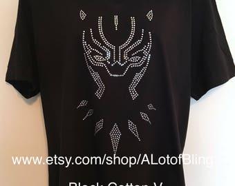 Black Panther Rhinestone T-Shirt