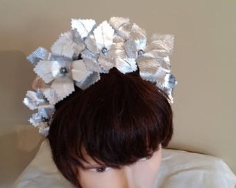 Silver Leather Crown Head Piece