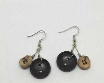Button drop earrings