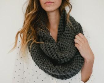 Gray infinity scarf, gray scarf, gray chunky scarf, dark gray, crochet, spring, fall, winter, circle scarf, loop scarf, fashion