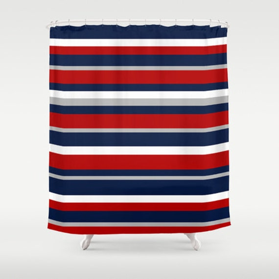 Description. Flag Stripe Shower Curtain, Red White And Blue ...