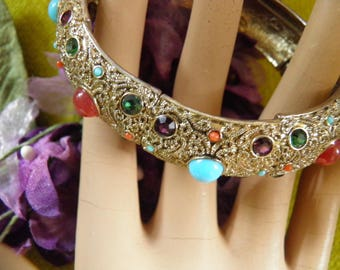 Filigree Bracelet Encrusted With Stones,Old Hollywood Glamour