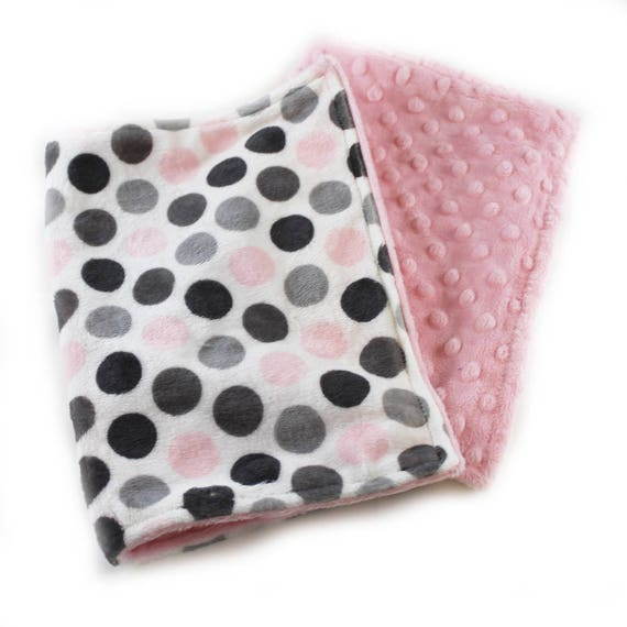 Minky Baby Lovey mini Blanket, Personalized Baby Blanket, security blanket, Pink Gray Dots Blanket, Tag Blanket, Baby Shower Gift, BabyGirl
