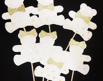 Gender reveal teddy bear cupcake toppers