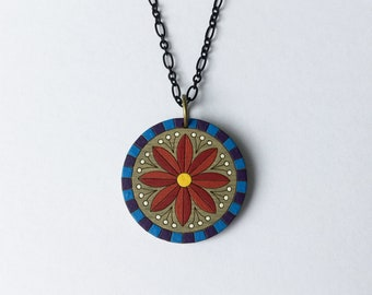Round Painted Driftwood Flower Pendant