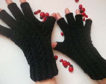 Women Size M Black GLOVES Accessories Mittens Wrist Warmers Ready To Ship Hand Knitted Winter Arm Crochet Wool Half Fingers Gift Cabled 1221