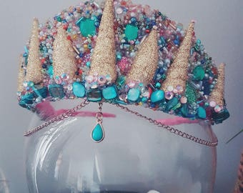Colourful mermid inspired crown