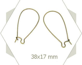 24 long bronze Leverback for pierced ears AB30