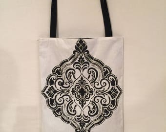 Black & White Hand Painted Print Bag/Tote