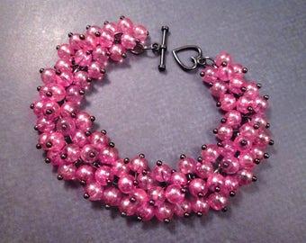 Gunmetal Silver Charm Bracelet, Pink Luster Glass Beaded Bracelet, Cha Cha Style Bracelet, FREE Shipping U.S.
