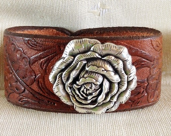 Floral Rose Leather Cowgirl Cuff Bracelet