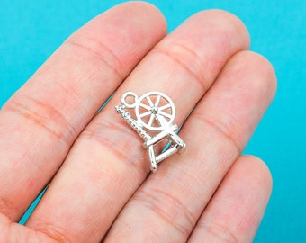 10 Silver SPINDLE SPINNING WHEEL Charm Pendants  18x12mm . chs0208