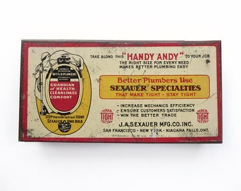 1931 Tin Plumber Repair Box for Bolts and Screws, Handy Andy No. 8