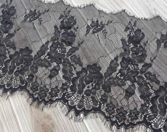 Black Scalloped Lace Fabric, Eyelash Floral Lace Trim, Black Chantilly Lace For Wedding Bridal Veils Costume design