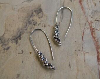 Sterling Silver Earrings, Shiny Silver Earrings, Wheat Earrings, simple Earrings, Dangle Earrings, Woodland Earrings, Simple Earrings K#373