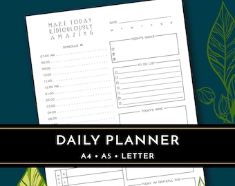 Daily Planner Printable, Productivity Planner, Day Planner, Happy Planner, Hourly Planner, A4 A5 Letter Planner Insert, Daily Organizer PDF