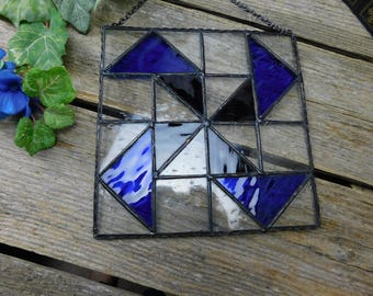 Vintage Stain Glass Hanging Window - Quilters Block - Windmill