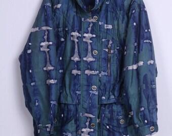 Vintage Womens 40 L Jacket Blue Full Zipper Parka