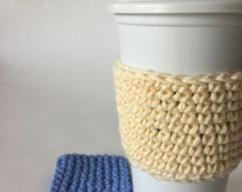 2 Coffee Cup Sleeves Cozy Kitchen and Dining Drink Ware Housewarming Gift Idea Free Shipping