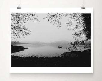 Loch Creran photograph boat photograph black and white photography tree photograph Scotland photograph mountains photograph