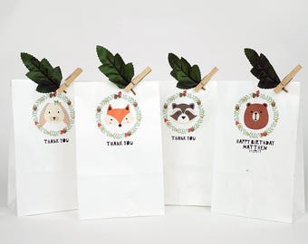 10 forest friends gift paper bags, paper gift bag, kid's party favor bag, cute gift bag, birthday favor bag, woodland party, baby shower