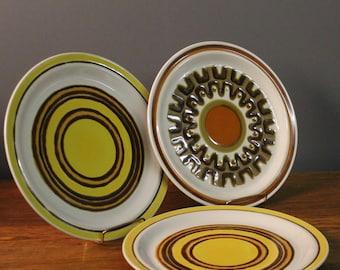 Baycrest Stoneware Aurora Dishes Vintage Large Orange Yellow Brown Beige Serving Platter Mid Century Modern Dinnerware Retro Dinner Plates