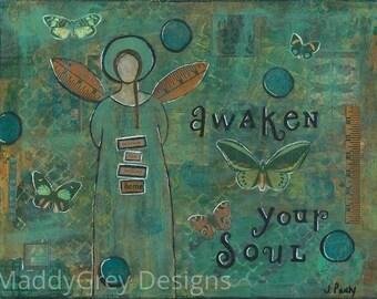 Angel gift for her, boho angel wall decor, angel wall decor, guardian angel, inspirational angel art, guardian angel wall decor, angels, art