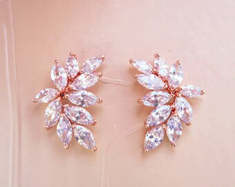 Rose Gold Bridal Earrings Crystal Leaf Earrings Marquise Wedding Jewelry Art Deco Bridal Earrings DOROTHY Vintage Style Bridesmaid Studs
