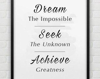 Dream, Seek, Achieve Inpsirational, Motivational Framed Poster Print