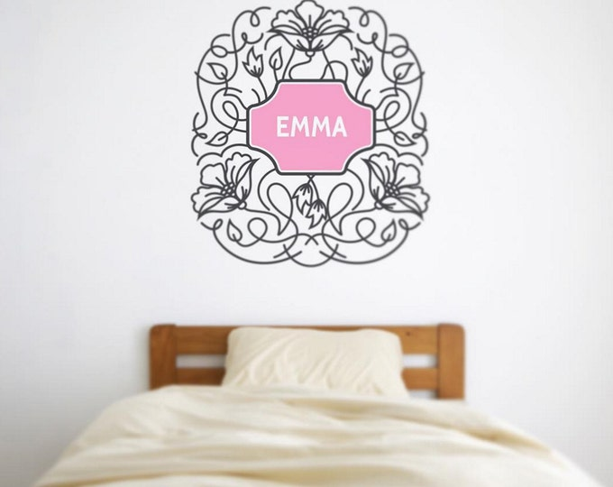 personalized floral wall decal, ornate flower wall sticker, child's name wall decal, FREE SHIPPING