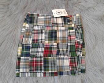 Madras girls wrap around  green plaid skirt