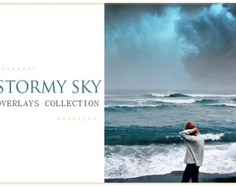 70 Storm Skies Photoshop Overlays: Heavy Rain Clouds Photo Layer, Dark Overcast Effect Backdrops for photographers, Dramatic Beautiful Sky