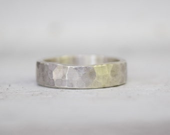 Sterling Silver Wedding Band - Mens or Womens Ring - Metalwork - Unisex Wedding Ring - Modern Rustic Hammered Ring - Mothers Day