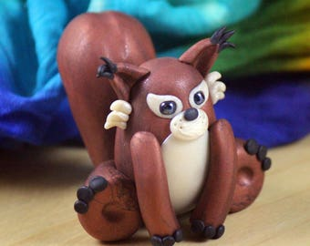 Red Squirrel Polymer Clay Figure