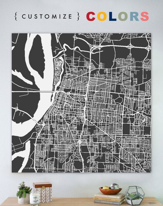 Map of Memphis large canvas city maps street map vintage