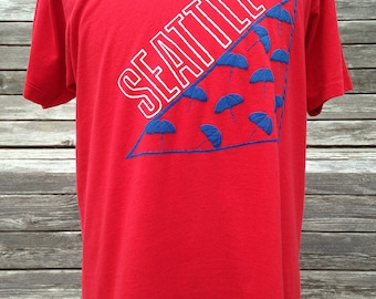 Vintage 80s Seattle Washington umbrellas T Shirt - Large - soft & thin - tourist Seattle WA - Puget Sound - Pacific Northwest
