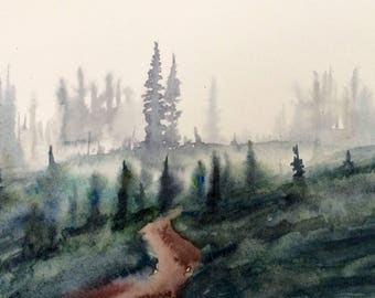 Pine trees, alpine wilderness, pacific northeast, Misty mountains, northeast watercolor, landscape painting, Misty landscape, Misty trees