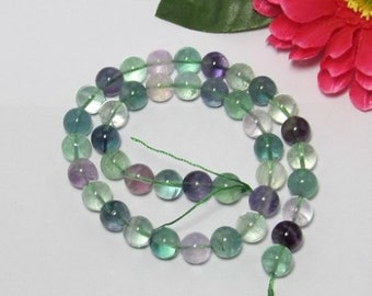 2 Strand Natural Fluorite 10mm Gemstone round Loose Beads