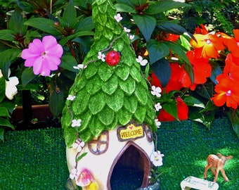 Artificial Grass with Resin Fairy House Artificial Grass Measures 16 x 16 Inches Fairy Garden Kit Cottage Fawn Bench Options